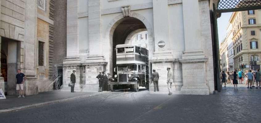 In autobus attraverso Porta Flaminia