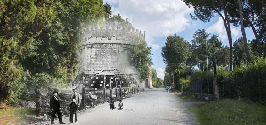 In posa lungo l'Appia Antica davanti alla Tomba di Cecilia Metella
