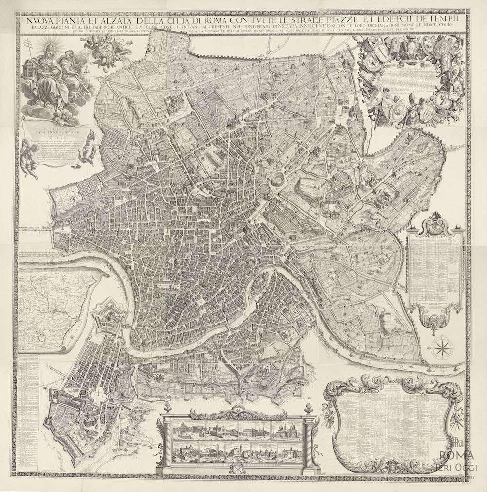 Mappa della citt di roma g b falda 1676 roma ieri oggi for Mappa della costruzione di casa
