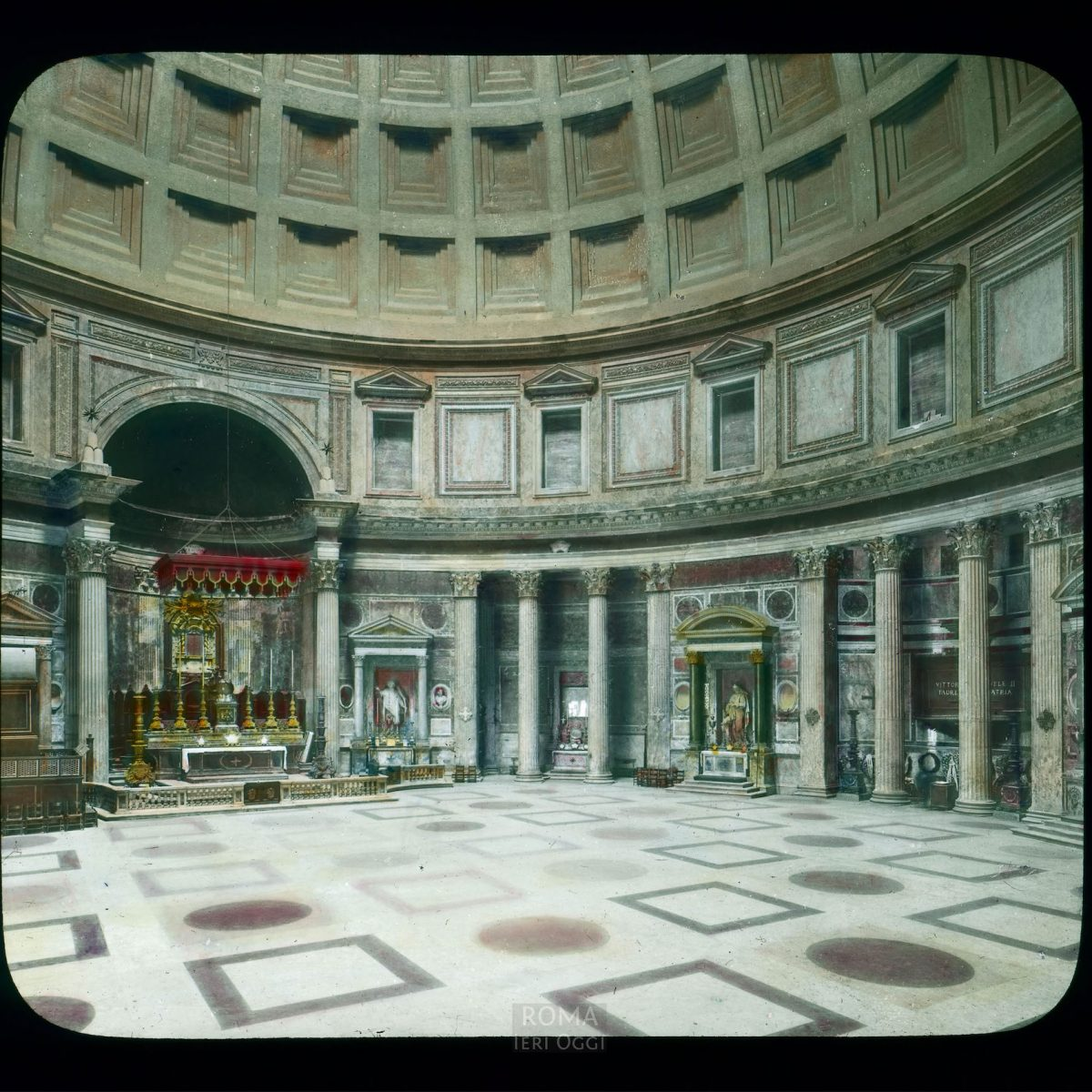 Rome. Pantheon (Santa Maria dei Martiri): interior view View in tinted lantern slide, ca. 1919-1938. The Pantheon dates from 118-128 C.E.