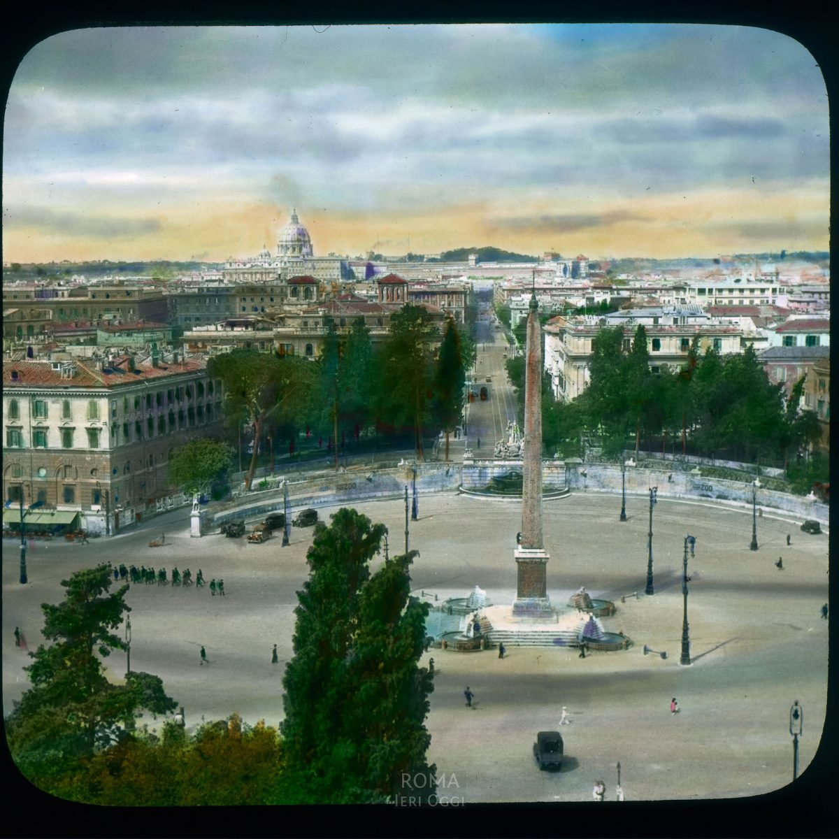 Rome. Piazza del Popolo: aerial view west from Pincio, with St. Peter's in the distance View in tinted lantern slide, ca. 1919-1938