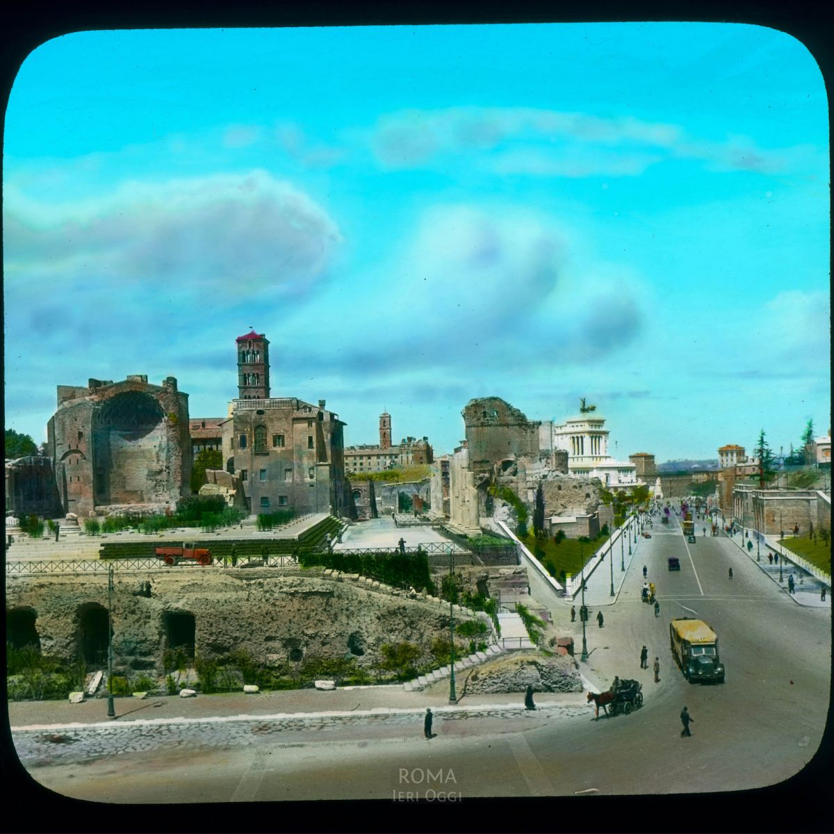 Rome. Temple of Venus and Roma: view from Colosseum, with the Via dei Fori Imperiali View in tinted lantern slide, ca. 1919-1938. The temple dates from 121-141 C.E., with later restorations