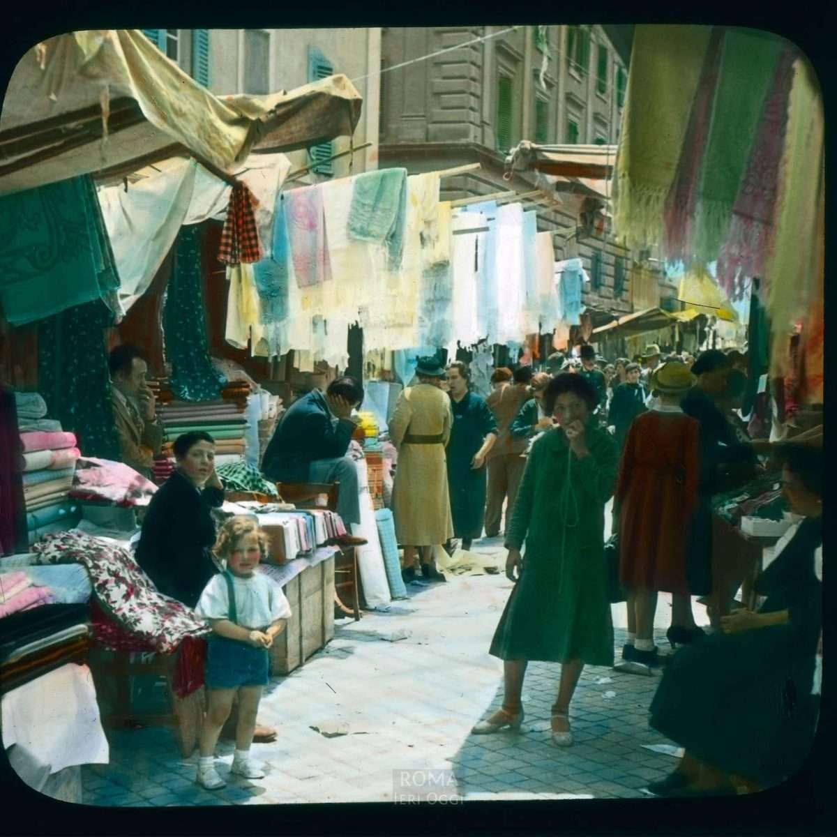 Rome. Rag market, or rag fair, at the Campo dei Fiori View in tinted lantern slide, ca. 1919-1938