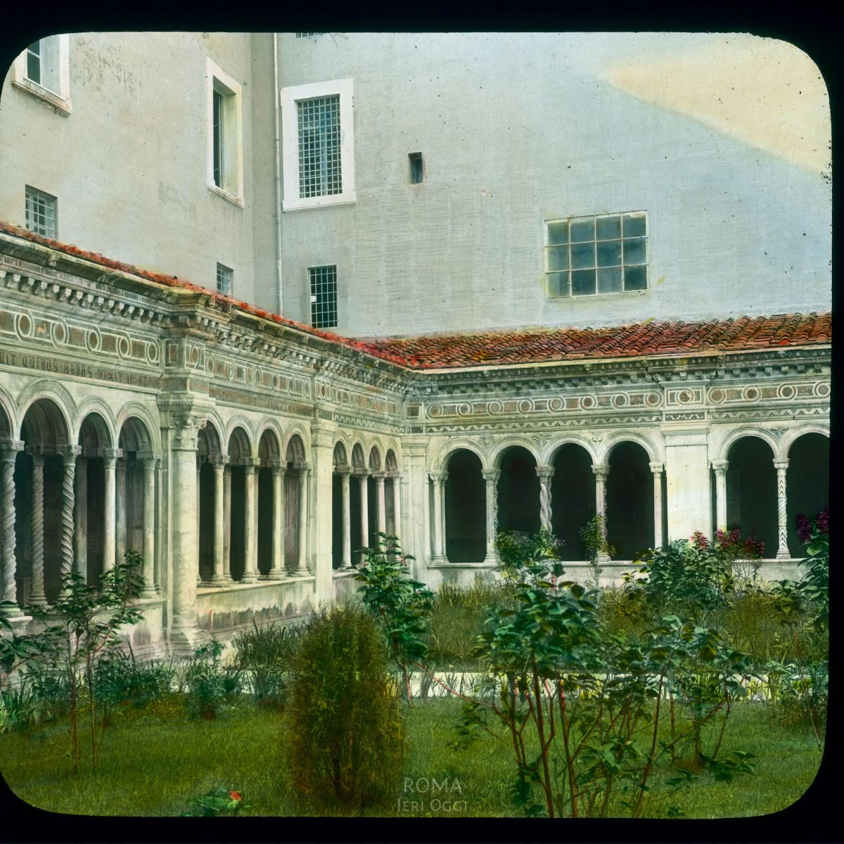 Rome. St. Paul's-Outside-the-Walls (Basilica di San Paolo fuori le Mura): detail of cloister View in tinted lantern slide, ca. 1919-1938. The church dates from ca. 380, the cloister from the 13th century.