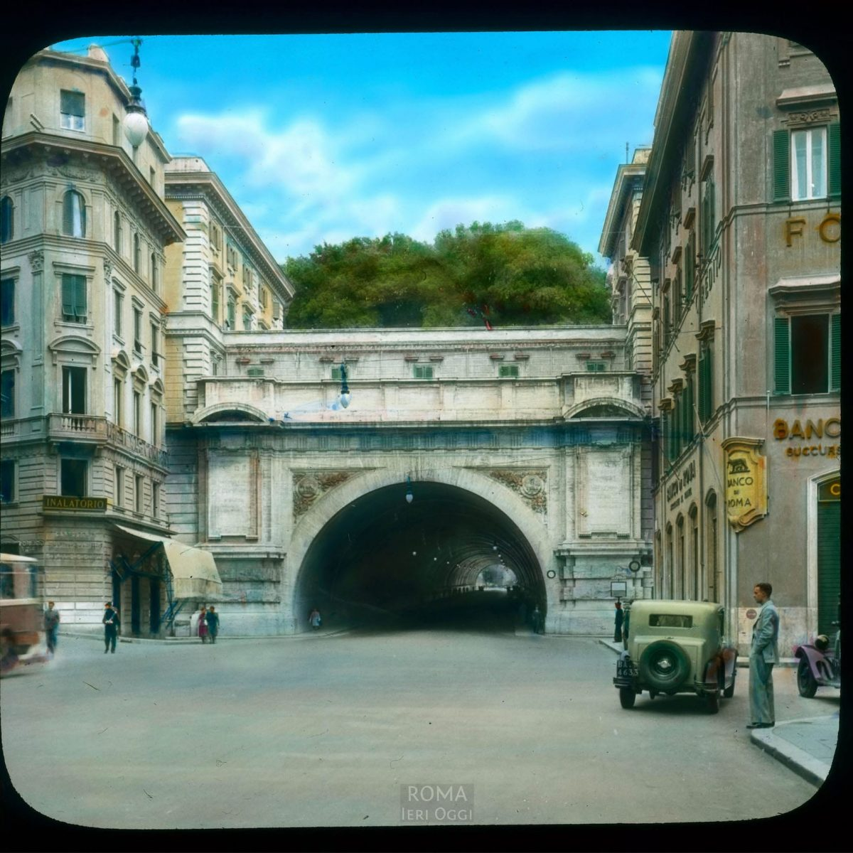 Rome. Via Nazionale: view of tunnel under the Quirinal hill View in tinted lantern slide, ca. 1931-1938