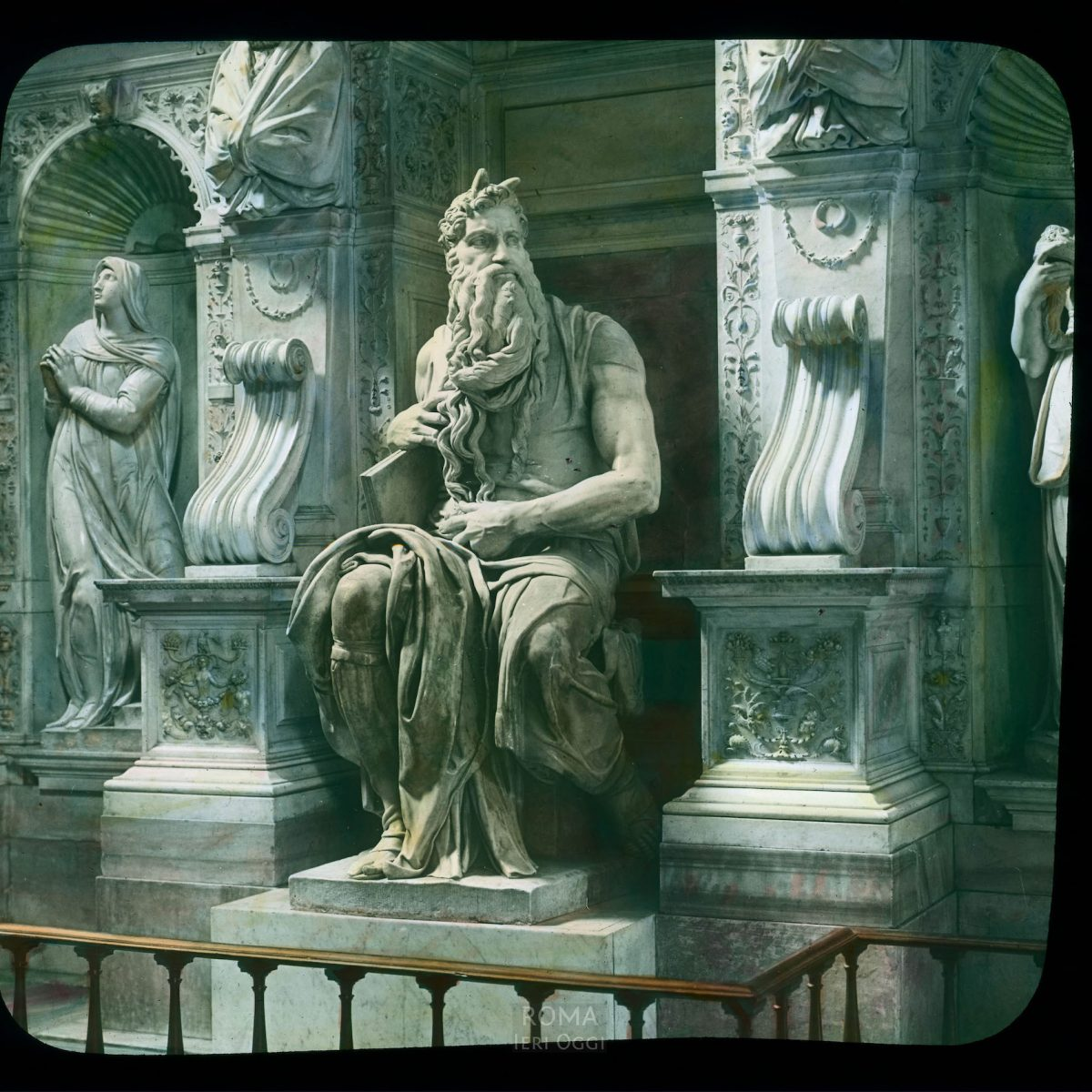 """Rome. San Pietro in Vincoli: Michelangelo's """"Moses"""" View in tinted lantern slide, ca. 1919-1938. The marble sculpture was completed in 1515."""