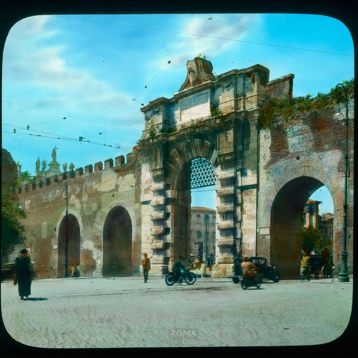 Rome. Porta San Giovanni, in the Aurelian Wall View in tinted lantern slide, ca. 1919-1938. The wall dates from the 3rd century, the gate from 1574.