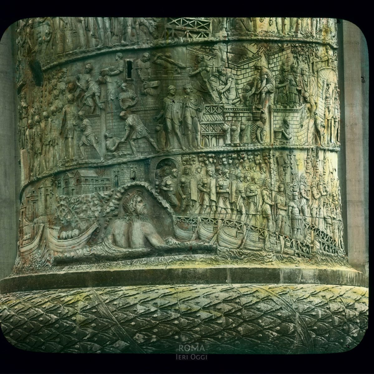 Rome. Trajan's Forum: Trajan's Column detail, base showing scenes of Dacian campaign View in tinted lantern slide, ca. 1919-1938. The column dates from 113 C.E.
