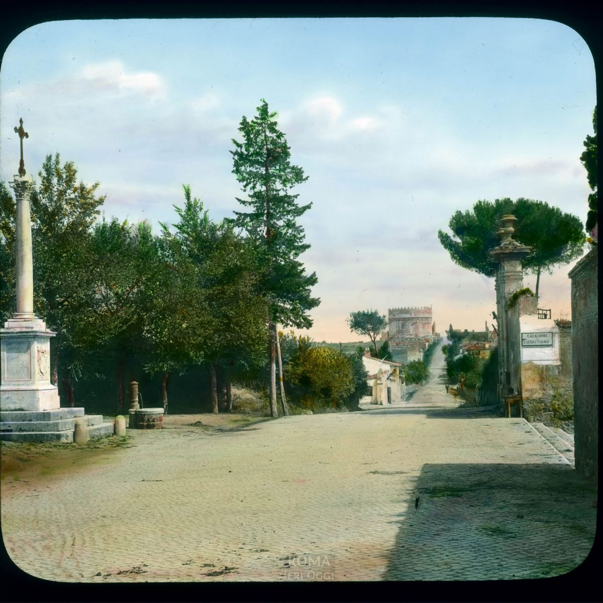 Rome. Tomb of Cecilia Metella: distant view on the Appian Way (Via Appia) View in tinted lantern slide, ca. 1919-1938. The tomb dates from Tomb ca. 20 B.C.E.