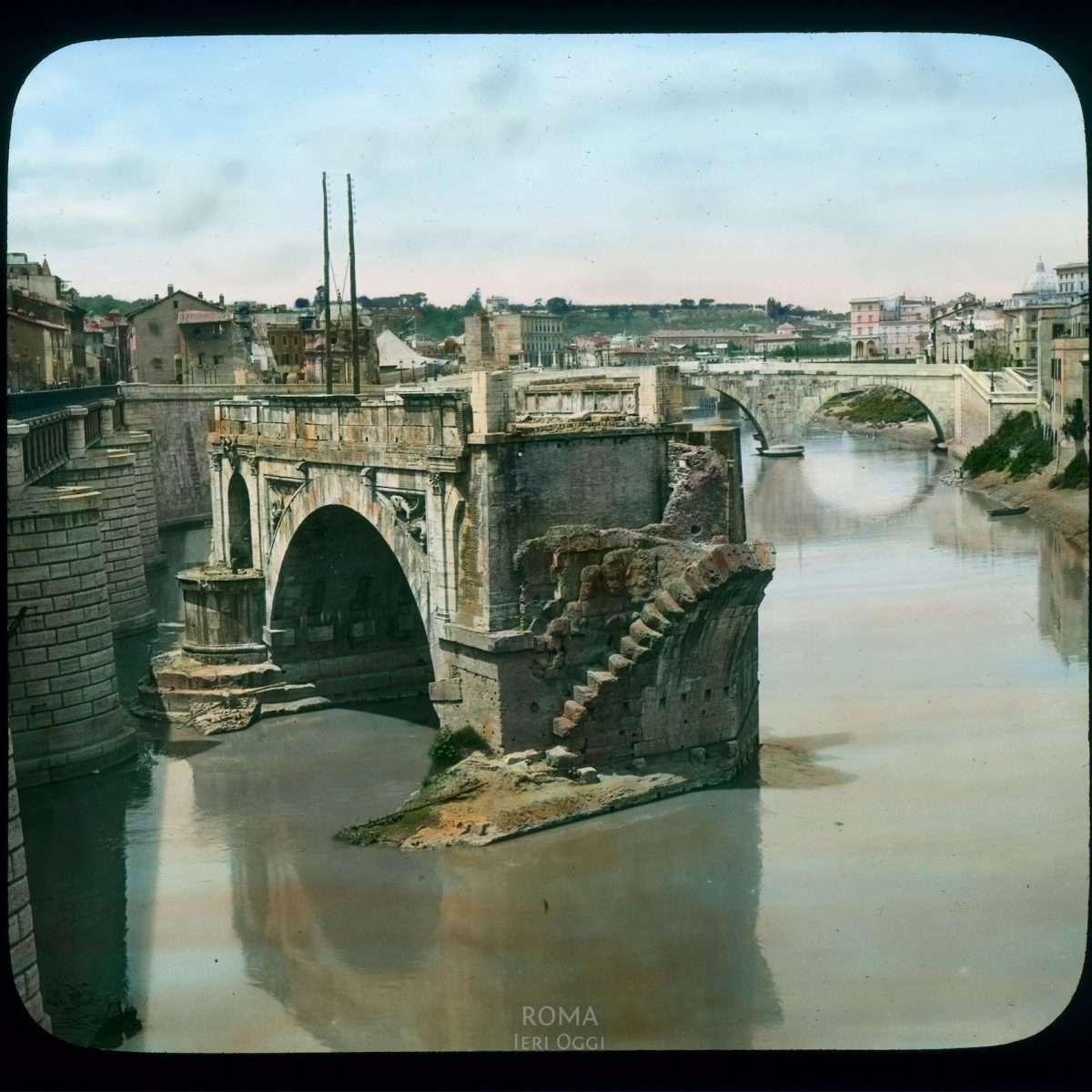 Rome. Ponte Rotto (Broken Bridge; Pons Aemelius), on the Tiber River View in tinted lantern slide, ca. 1919-1938. The bridge dates from ca. 142 B.C.E.