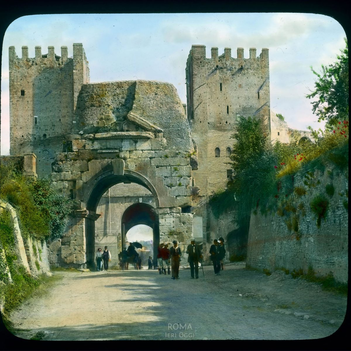 Rome. Porta San Sebastiano: view of north side, incorporating the Arch of Drusus View in tinted lantern slide, ca. 1919-1938. The gate dates from ca. 271-275 C.E.