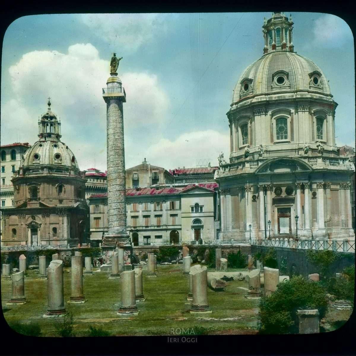 Rome. Trajan's Forum: Trajan's Column and two churches, Santa Maria di Loreto and Santissimo Nome di Maria View in tinted lantern slide, ca. 1919-1938. The column dates from 113 C.E., Santa Maria di Loreto from the 16th century, and Santissimo Nome di Maria, by Antoine Derize, from 1736-1741.