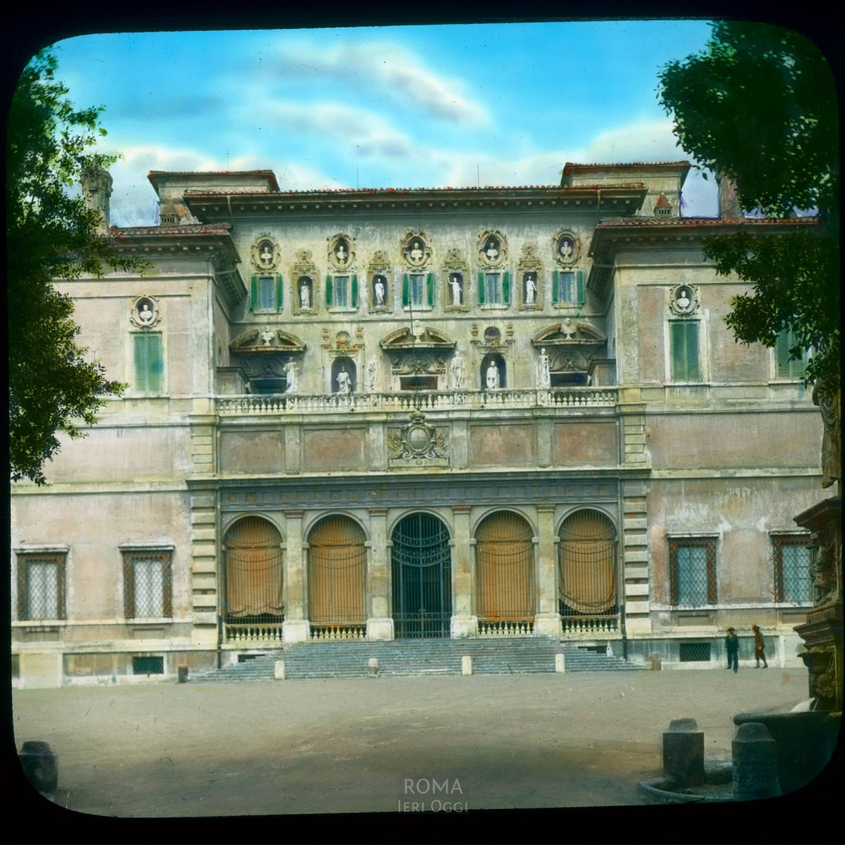 Rome. Villa Borghese: partial view of front facade View in tinted lantern slide, ca. 1919-1938. The villa dates from ca. 1616.