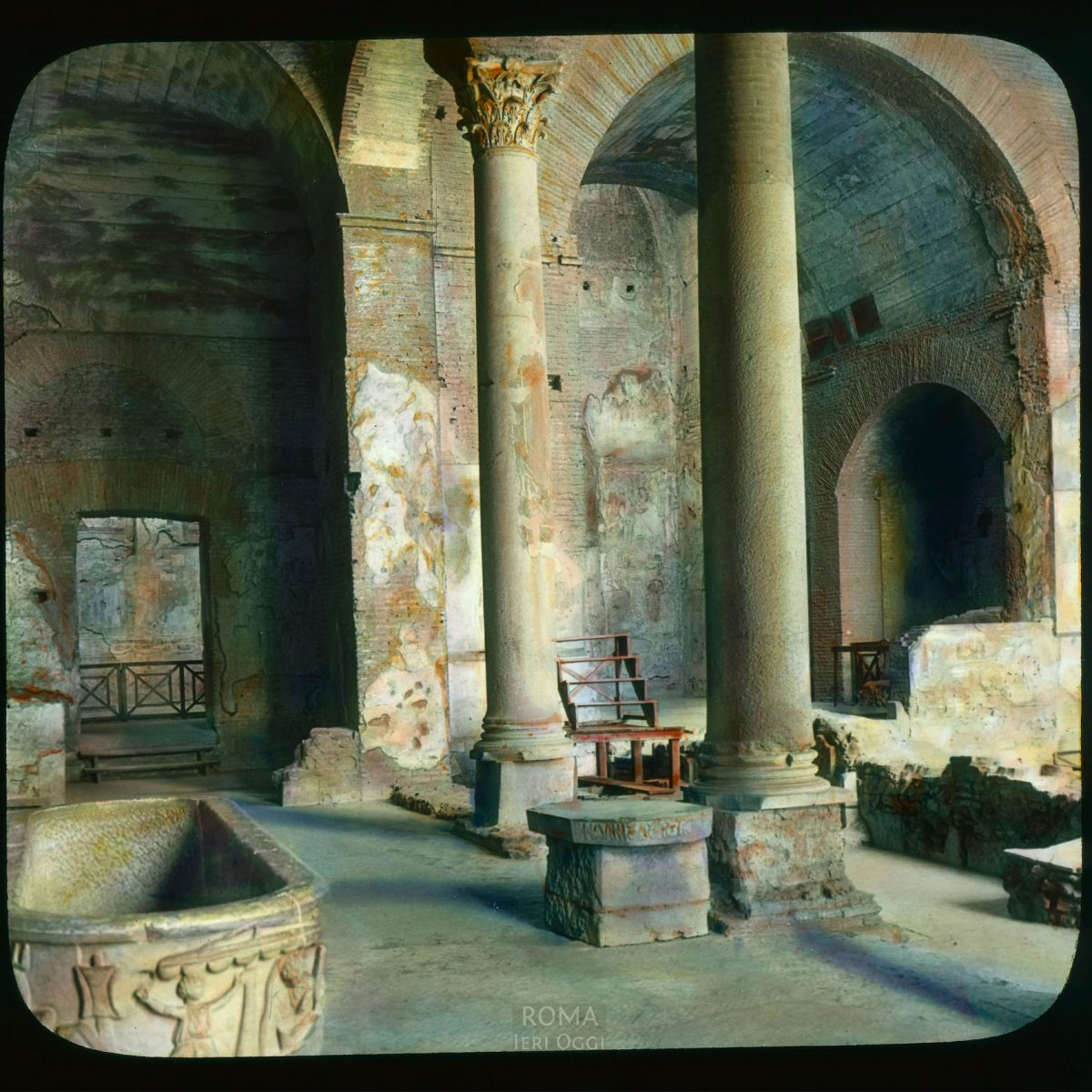 Rome. Santa Maria Antiqua: view of the church built into an older complex from 81-96 C.E. View in tinted lantern slide, ca. 1919-1938. The church dates from the mid-6th century.