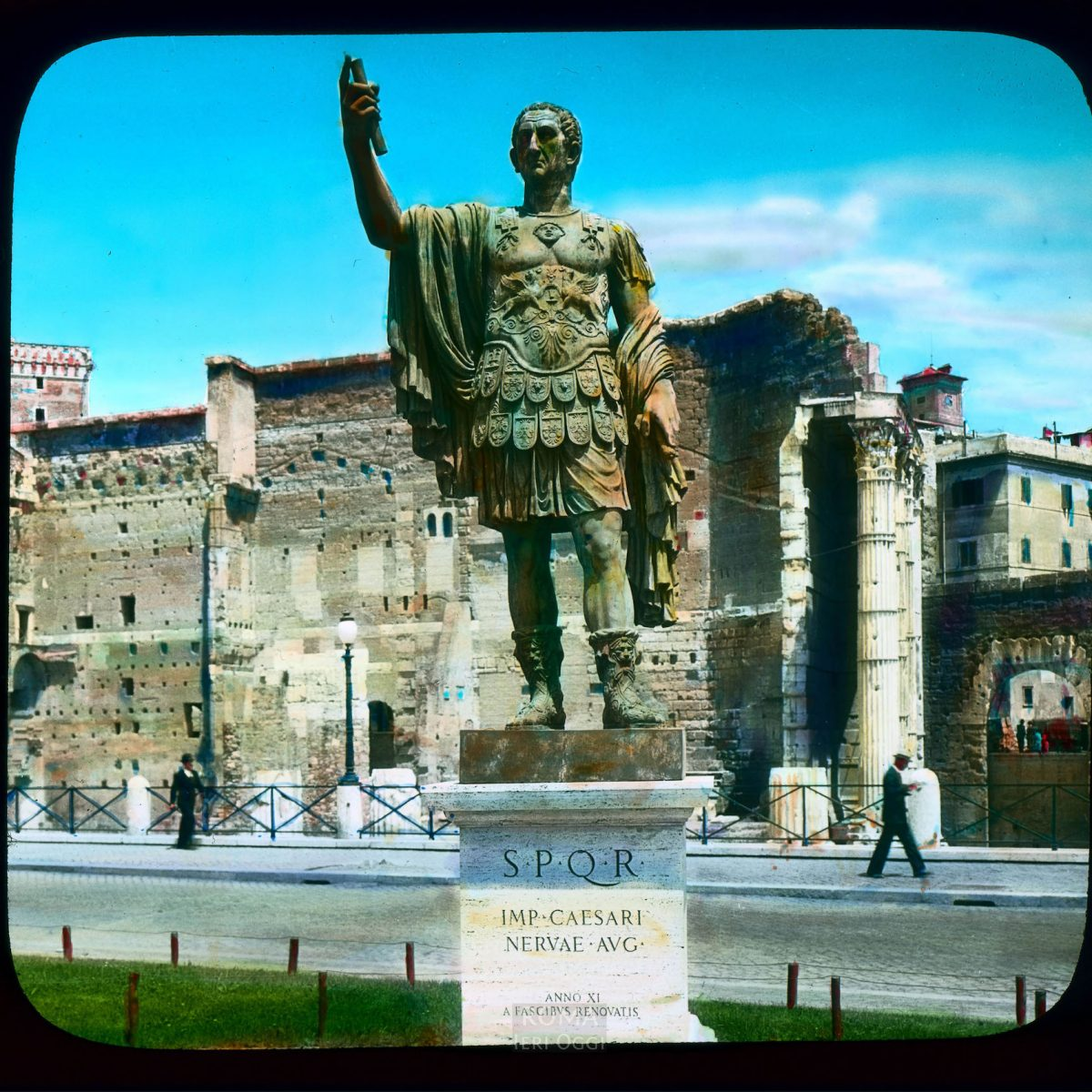 Rome. Via dei Fori Imperiali: front view of bronze sculpture of Emperor Nerva View in tinted lantern slide, ca. 1931-1938