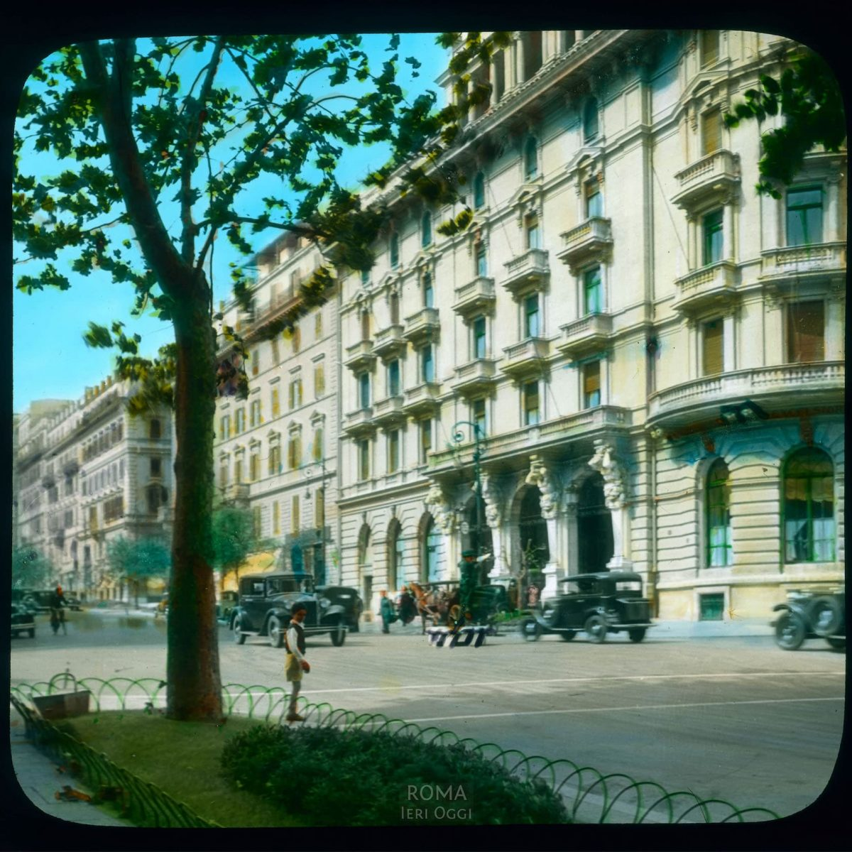 Rome. Via Vittorio Veneto: partial view of the Hotel Excelsior View in tinted lantern slide, ca. 1931-1938