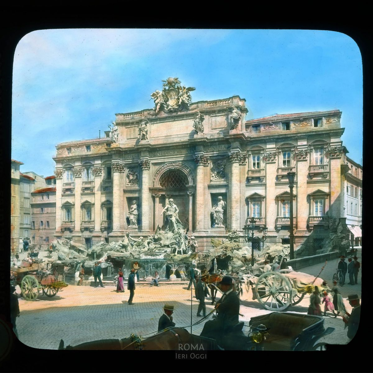 Rome. Trevi Fountain: general view from across the piazza View in tinted lantern slide, ca. 1919-1938. The fountain dates from 1732-1762.