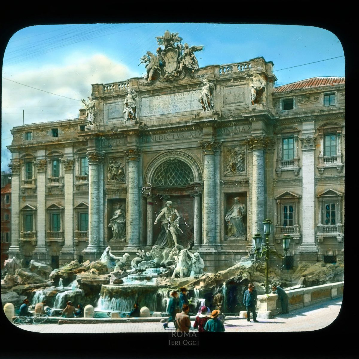 Rome. Trevi Fountain: general view View in tinted lantern slide, ca. 1919-1938. The fountain dates from 1732-1762.