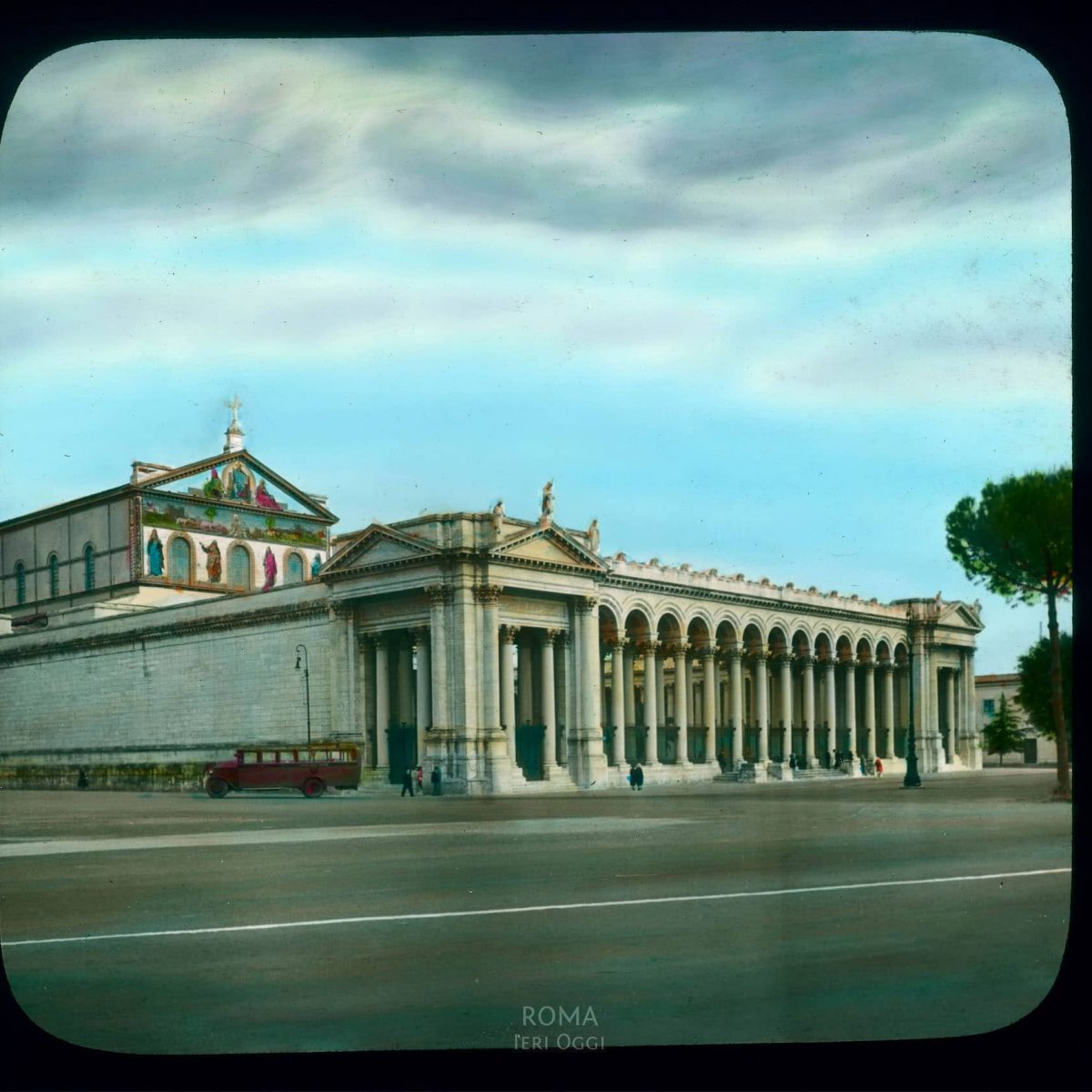 Rome. St. Paul's-Outside-the-Walls (Basilica di San Paolo fuori le Mura): exterior view from across the Piazzale S.Paolo View in tinted lantern slide, ca. 1919-1938. The church dates from ca. 380, the cloister from the 13th century.