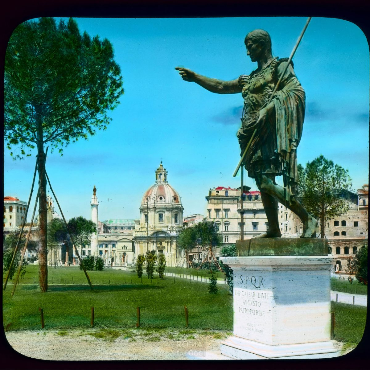 Rome. Via dei Fori Imperiali: view of bronze sculpture of Augustus Caesar View in tinted lantern slide, ca. 1931-1938