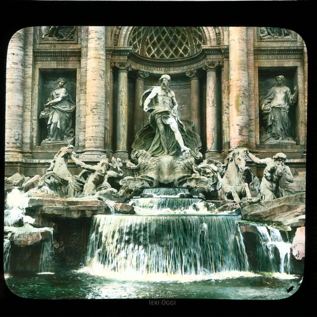 Rome. Trevi Fountain: detail of central group, with sculpture by Pietro Bracci View in tinted lantern slide, ca. 1919-1938. The fountain dates from 1732-1762.