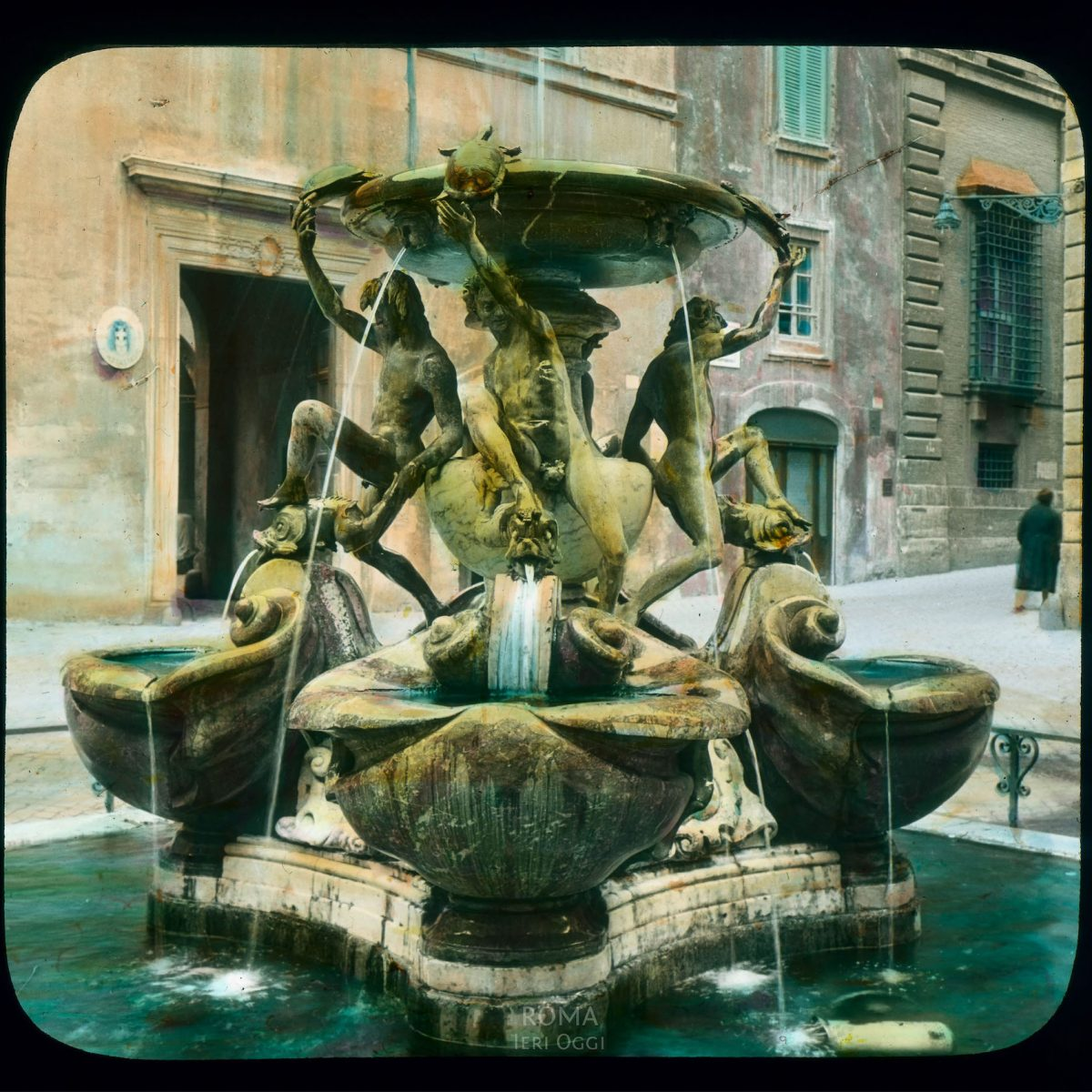 Rome. Tortoise Fountain, Piazza Mattei: general view View in tinted lantern slide, ca. 1919-1938. The fountain dates from ca. 1581-1582.