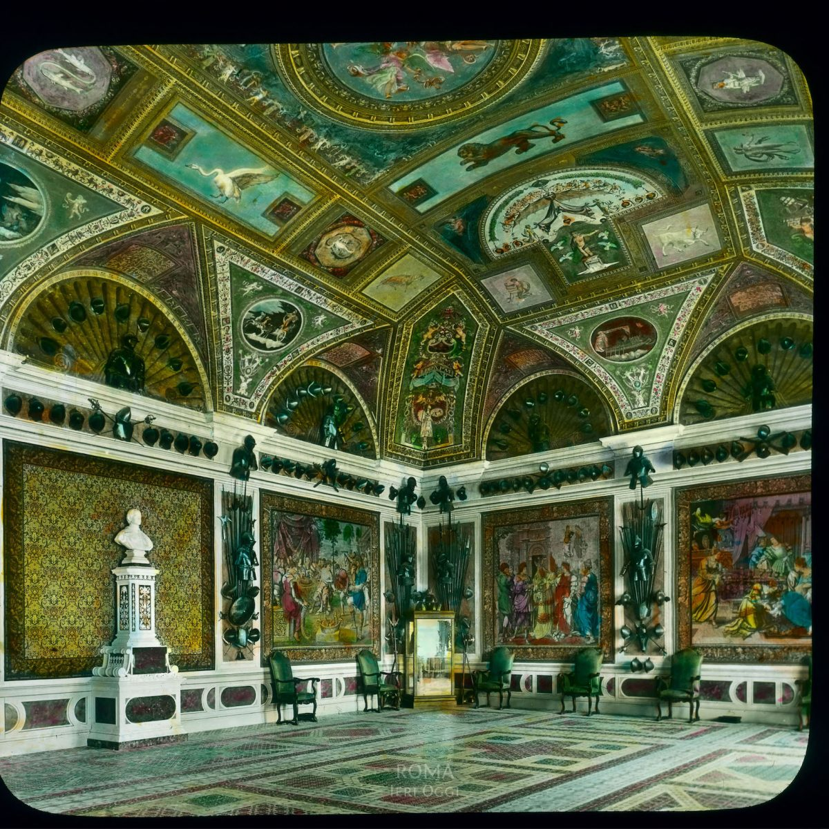 Vatican City. Apostolic Palace, Borgia Apartment: interior, Room of the Popes with French tapestries View in tinted lantern slide, ca. 1919-1938. This part of the palace was built ca. 1492-1503.