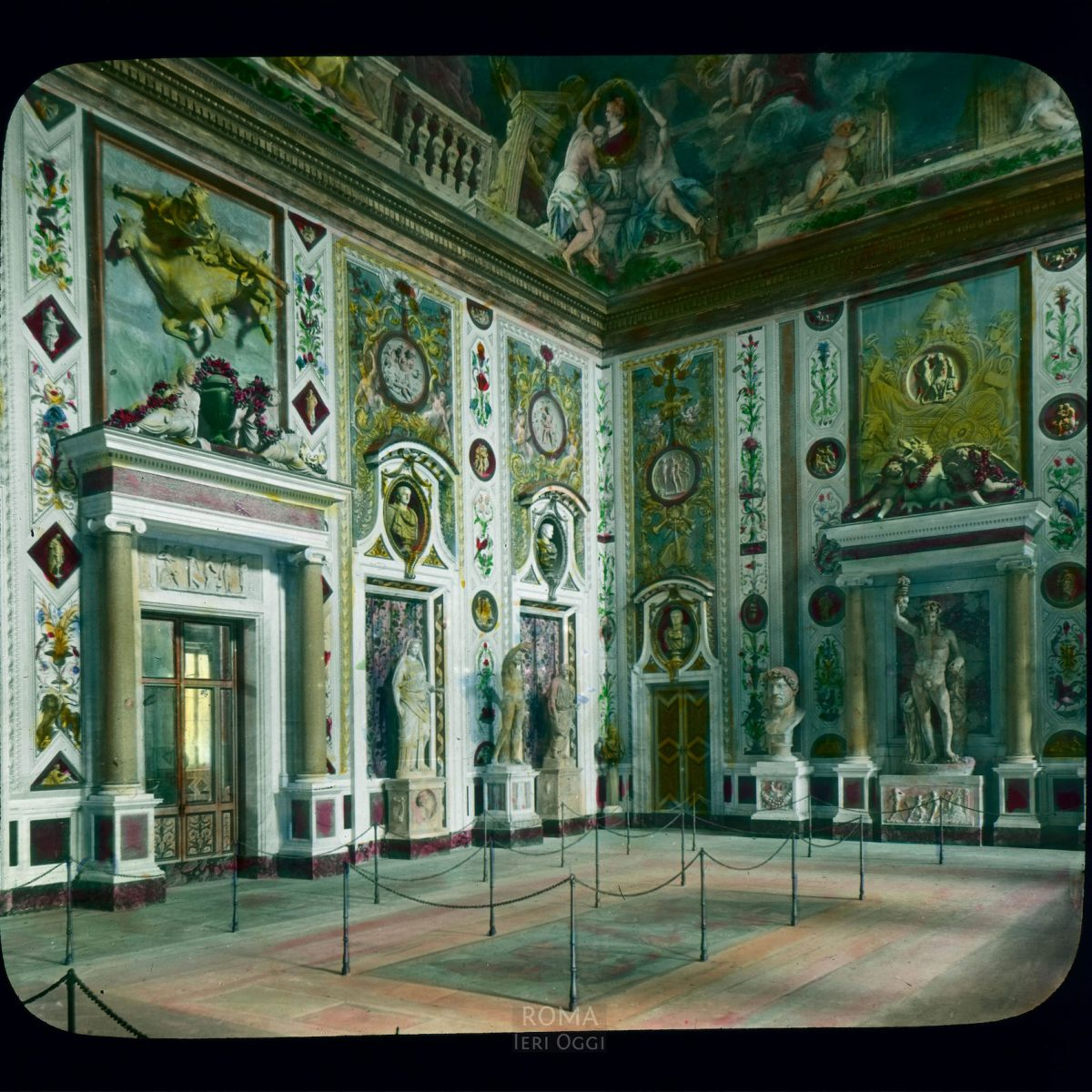 Vatican City. Apostolic Palace, Borgia Apartment: interior, grand entrance salon of the Borgia Apartment View in tinted lantern slide, ca. 1919-1938. This part of the palace was built ca. 1492-1503.