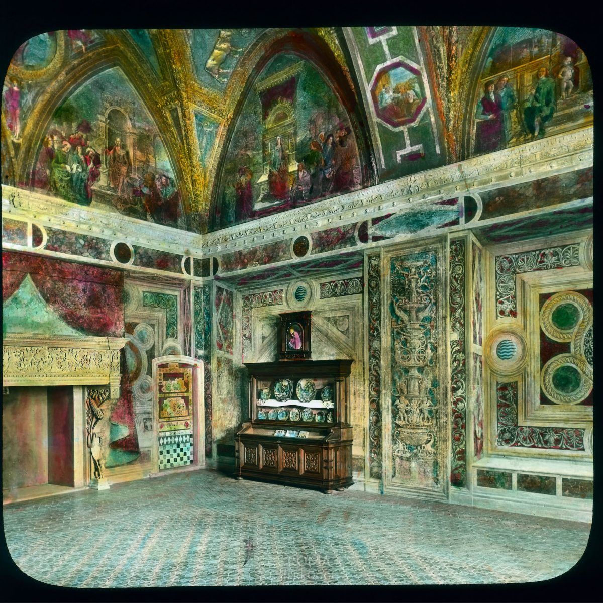 Vatican City. Apostolic Palace, Borgia Apartment: interior, Room of the Liberal Arts with Pinturicchio frescoes View in tinted lantern slide, ca. 1919-1938. This part of the palace was built ca. 1492-1503.