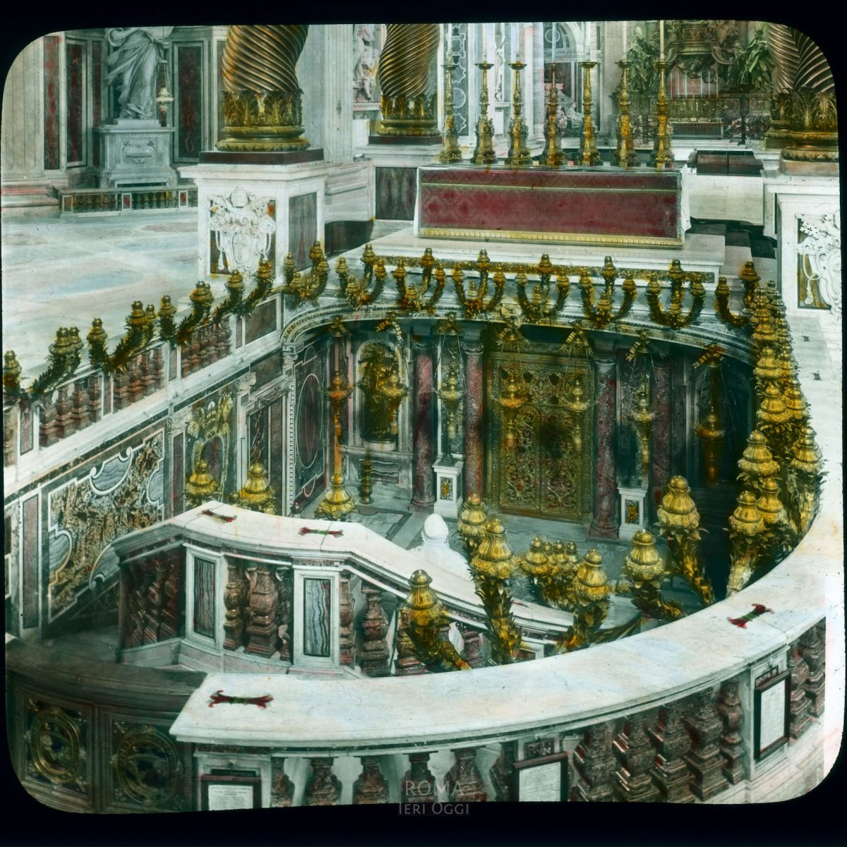 Vatican City. St. Peter's Basilica: interior, the Confessio (St. Peter's Tomb, 1615-1616) View in tinted lantern slide, ca. 1919-1938. The basilica dates from ca. 1506-1626.