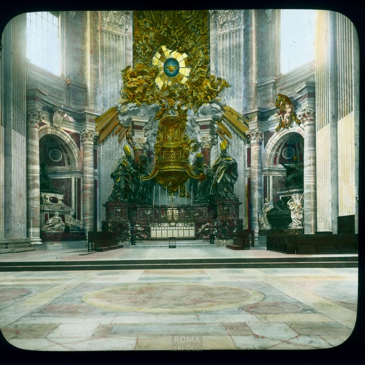 Vatican City. St. Peter's Basilica: interior, Chair of St. Peter (reliquary by Bernini, 1647-53) View in tinted lantern slide, ca. 1919-1938. The basilica dates from ca. 1506-1626.