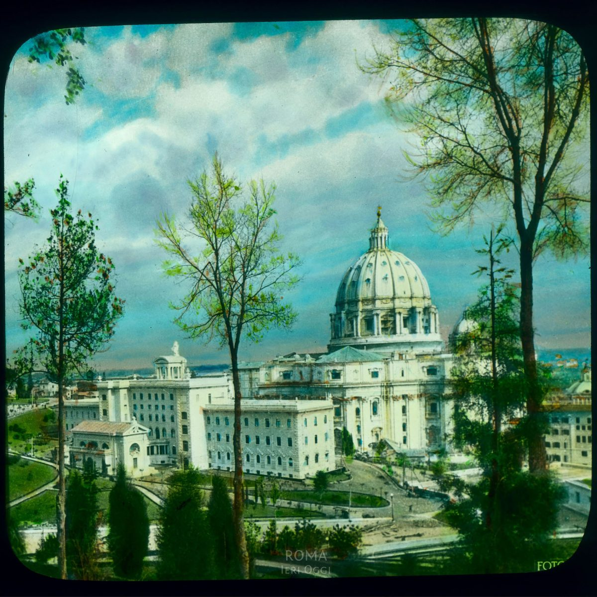 Vatican City. St. Peter's Basilica: view of church and Vatican buildings, from the west View in tinted lantern slide, ca. 1919-1938. The basilica dates from ca. 1506-1626.