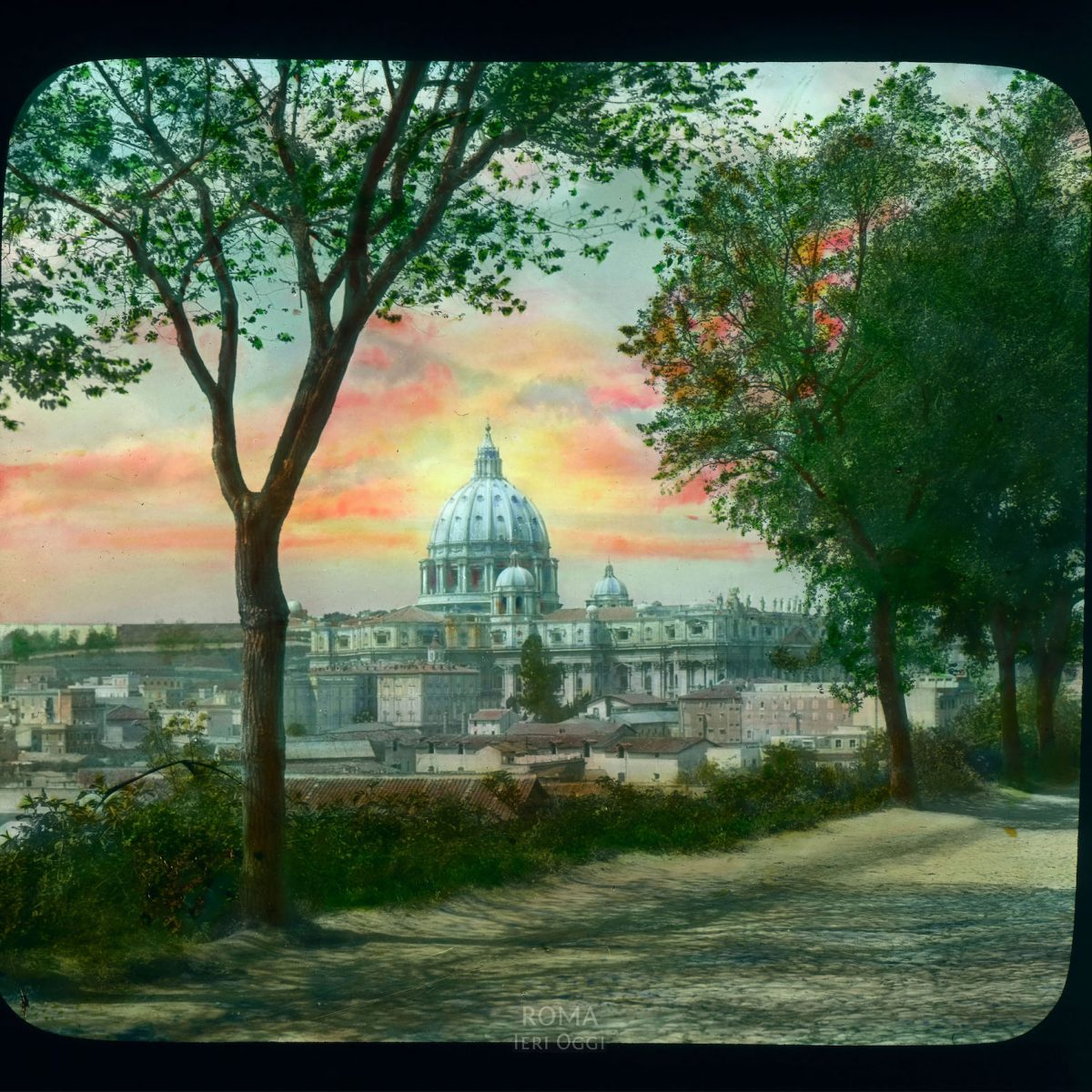 Vatican City. St. Peter's Basilica: distant view over city rooftops View in tinted lantern slide, ca. 1919-1938. The basilica dates from ca. 1506-1626.