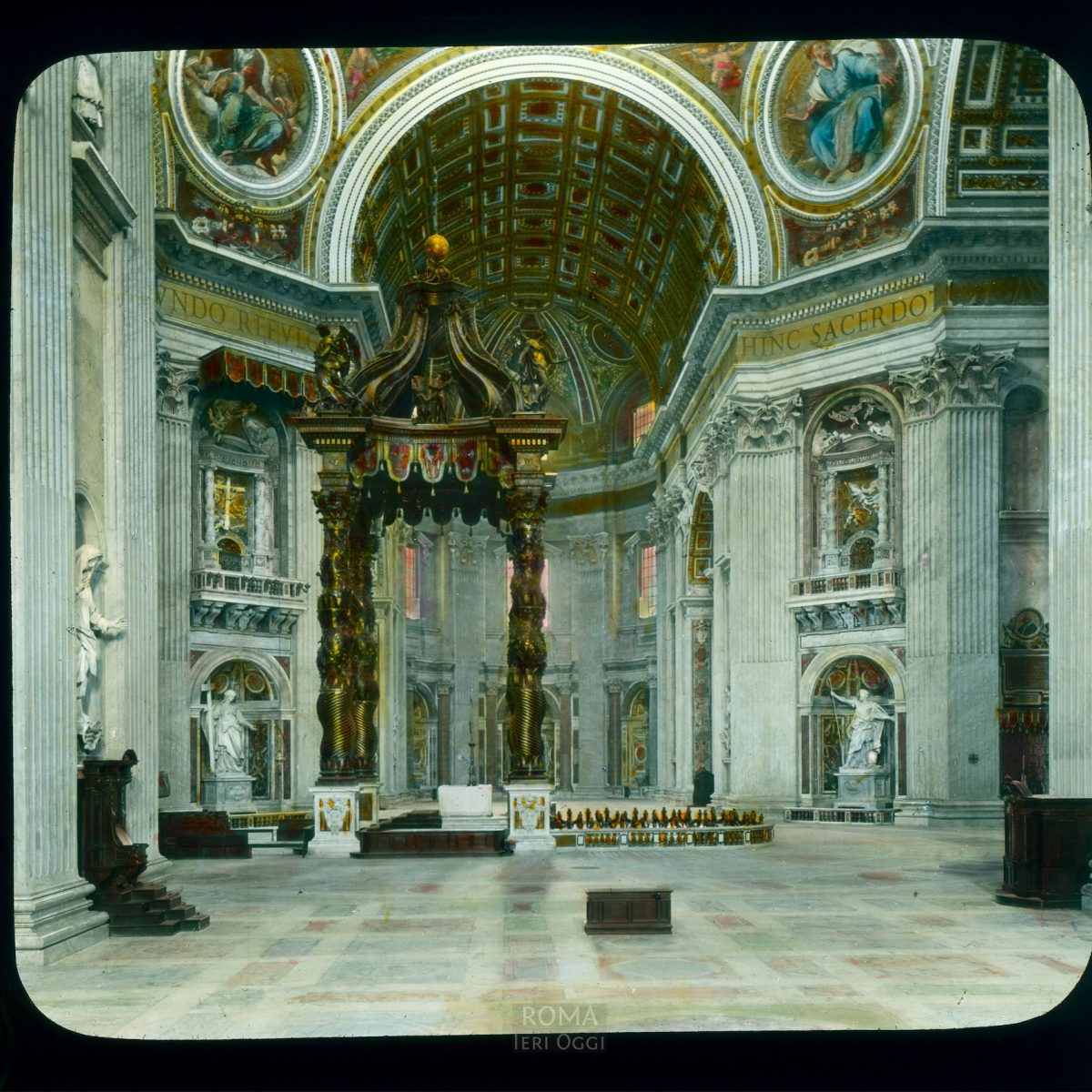 Vatican City. St. Peter's Basilica: interior, view towards baldachin and right transept View in tinted lantern slide, ca. 1919-1938. The basilica dates from ca. 1506-1626.