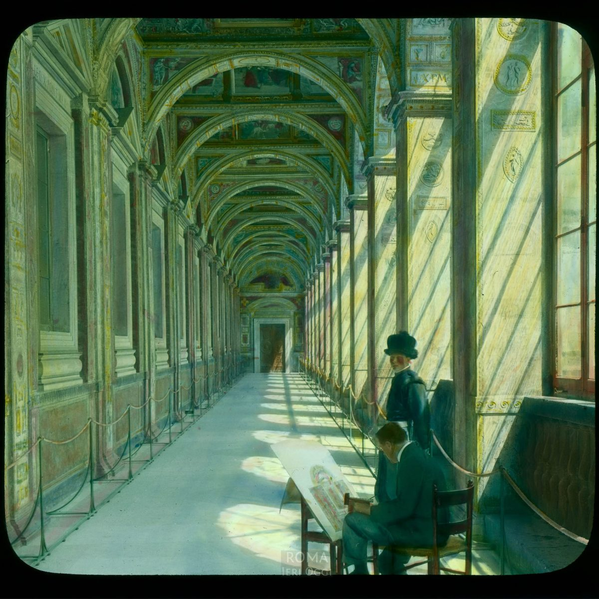 Vatican City. Raphael Loggia (Loggia of Leo X): general view, with an artist and a Swiss guard View in tinted lantern slide, ca. 1919-1938. The painting dates from ca. 1518-1519.