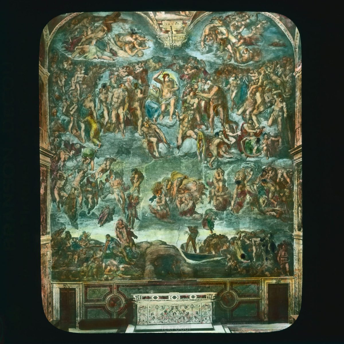 "Vatican City. Sistine Chapel: interior, with Michelangelo's ""Last Judgment"" View in tinted lantern slide, ca. 1919-1938. Michelangelo's frescoes date from 1508-1512."