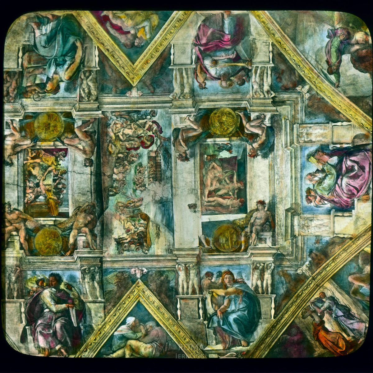Vatican City. Sistine Chapel: interior detail view of Michelangelo's ceiling frescoes View in tinted lantern slide, ca. 1919-1938. Michelangelo's frescoes date from 1508-1512.