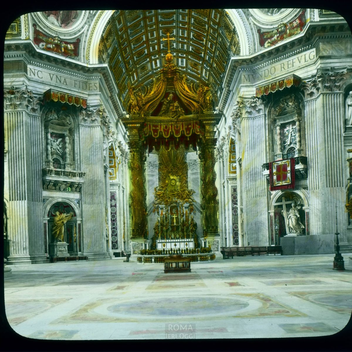 Vatican City. St. Peter's Basilica: interior, with bronze baldachin by Bernini (1623-1633) View in tinted lantern slide, ca. 1919-1938. The basilica dates from ca. 1506-1626.
