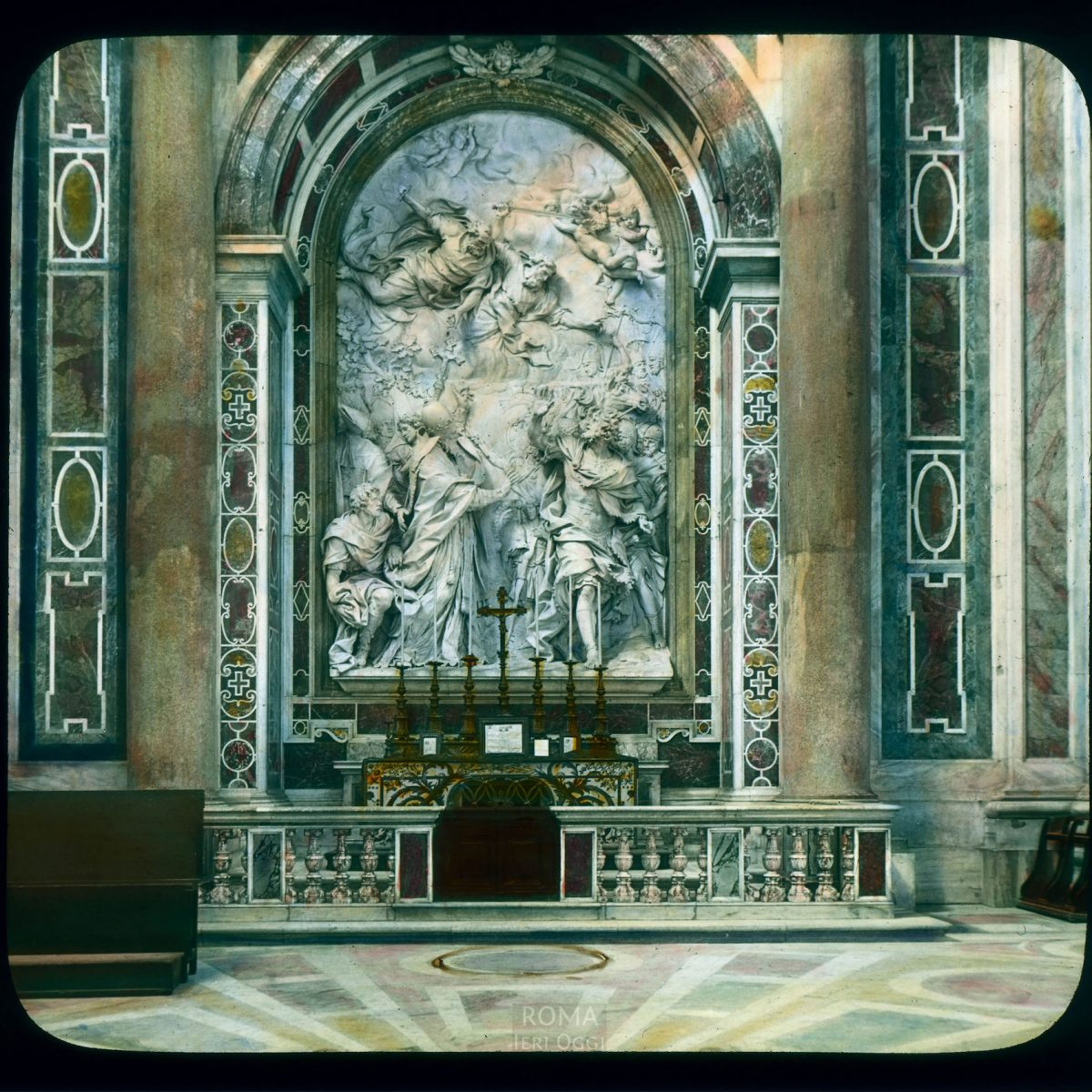 "Vatican City. St. Peter's Basilica: Algardi's ""Altar of St. Leo the Great"", with relief of Leo and Attila View in tinted lantern slide, ca. 1919-1938. The monument dates from 1645-1653."