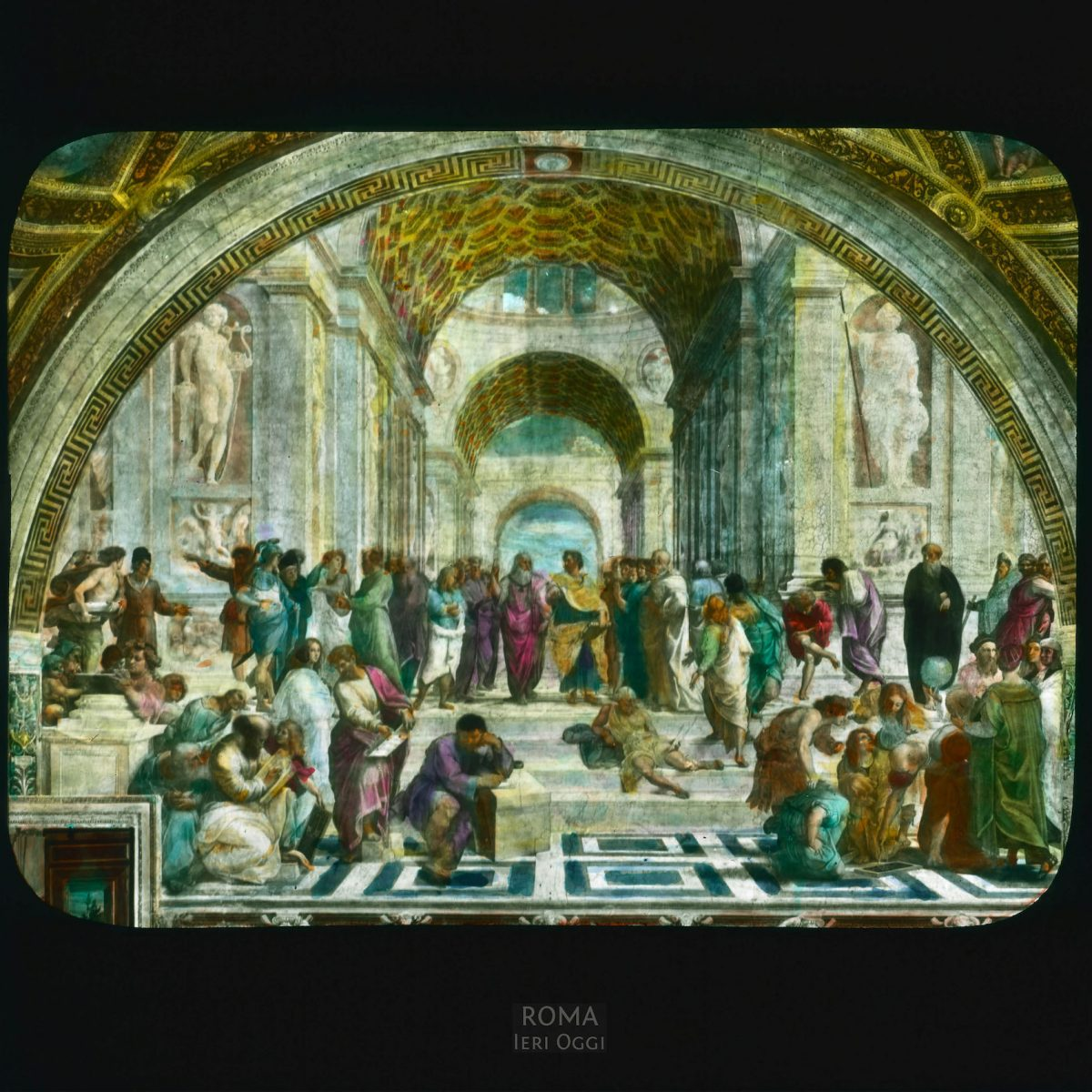 """Vatican City. Stanze della Segnatura: detail, Raphael's """"School of Athens"""" View in tinted lantern slide, ca. 1919-1938. The painting dates from ca. 1508-1511."""