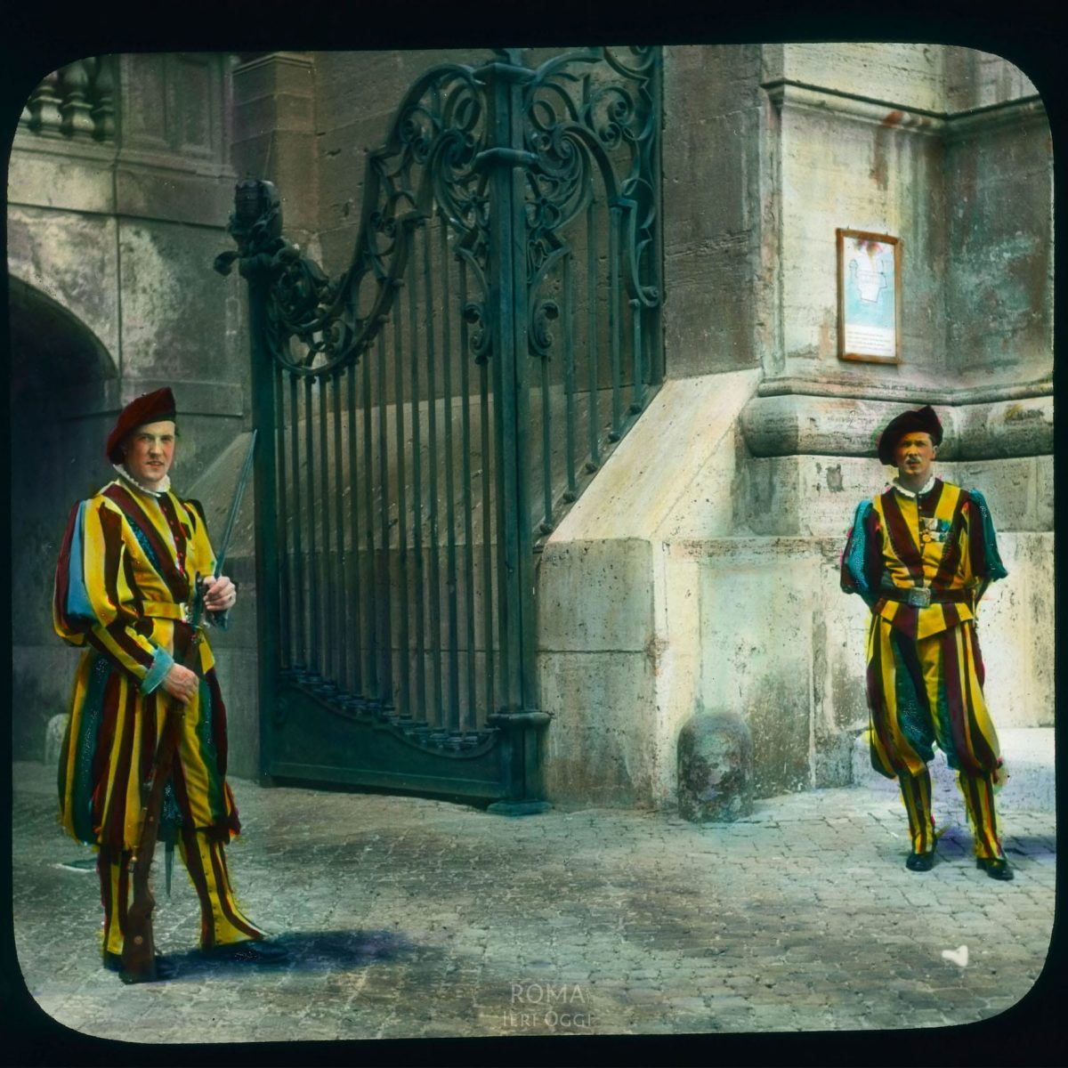 Vatican City: Swiss Guards at the Vatican View in tinted lantern slide, ca. 1919-1938