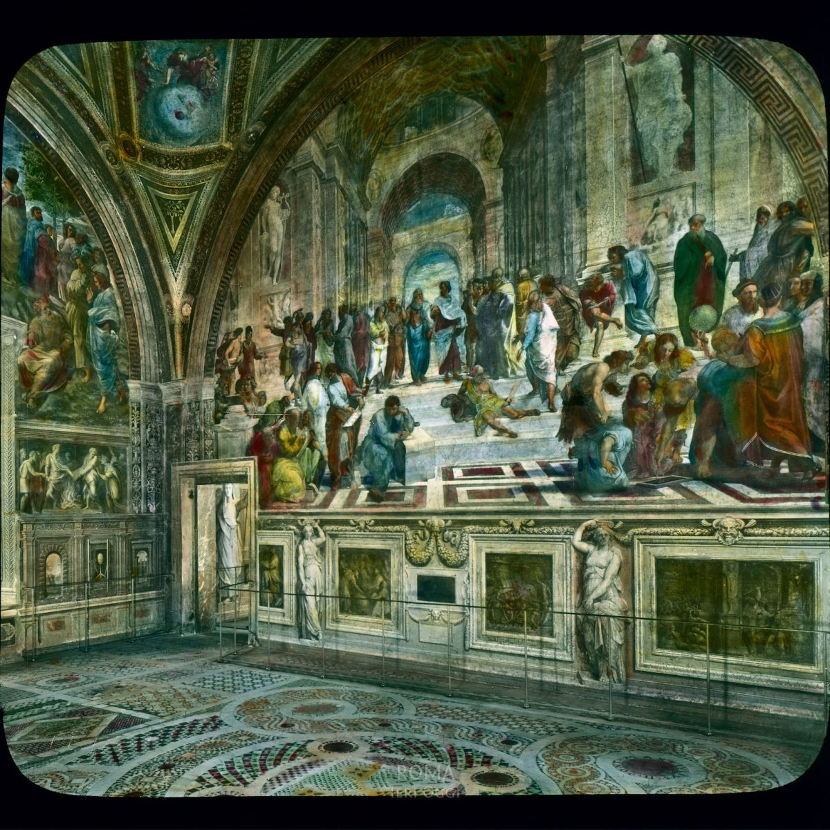 """Vatican City. Stanze della Segnatura: view of room and Raphael's """"School of Athens"""" View in tinted lantern slide, ca. 1919-1938. The painting dates from ca. 1508-1511."""