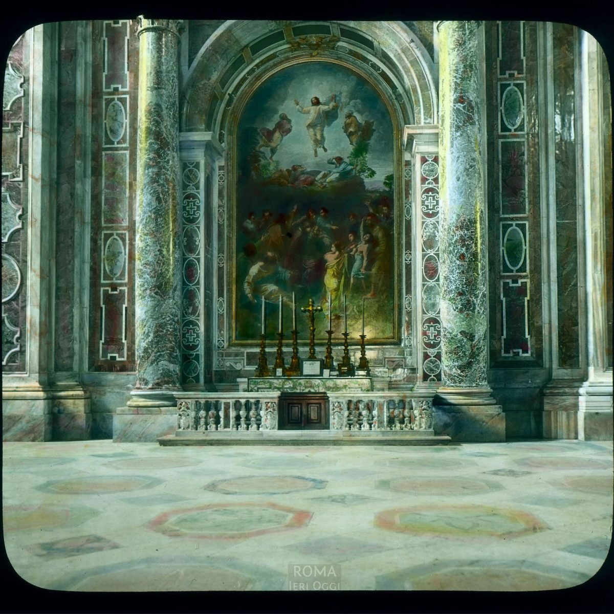 Vatican City. St. Peter's Basilica: interior, altar of the Transfiguration, mosaic after Raphael View in tinted lantern slide, ca. 1919-1938. The basilica dates from ca. 1506-1626.