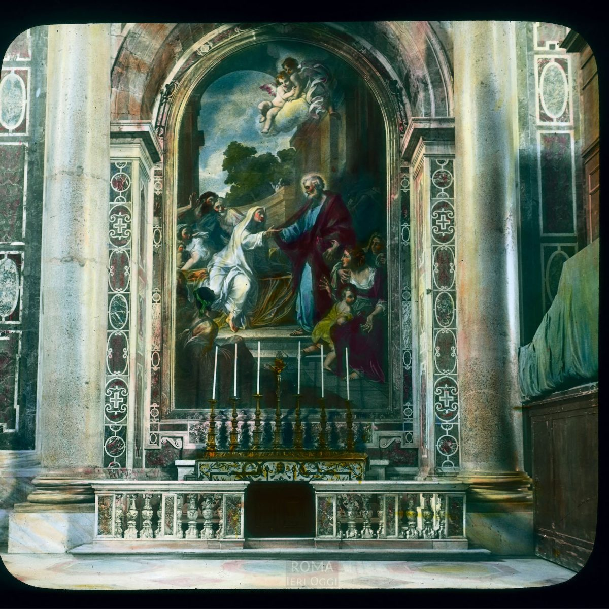 Vatican City. St. Peter's Basilica: interior, Tabitha Altar, with mosaic after Costanzi View in tinted lantern slide, ca. 1919-1938. The basilica dates from ca. 1506-1626.