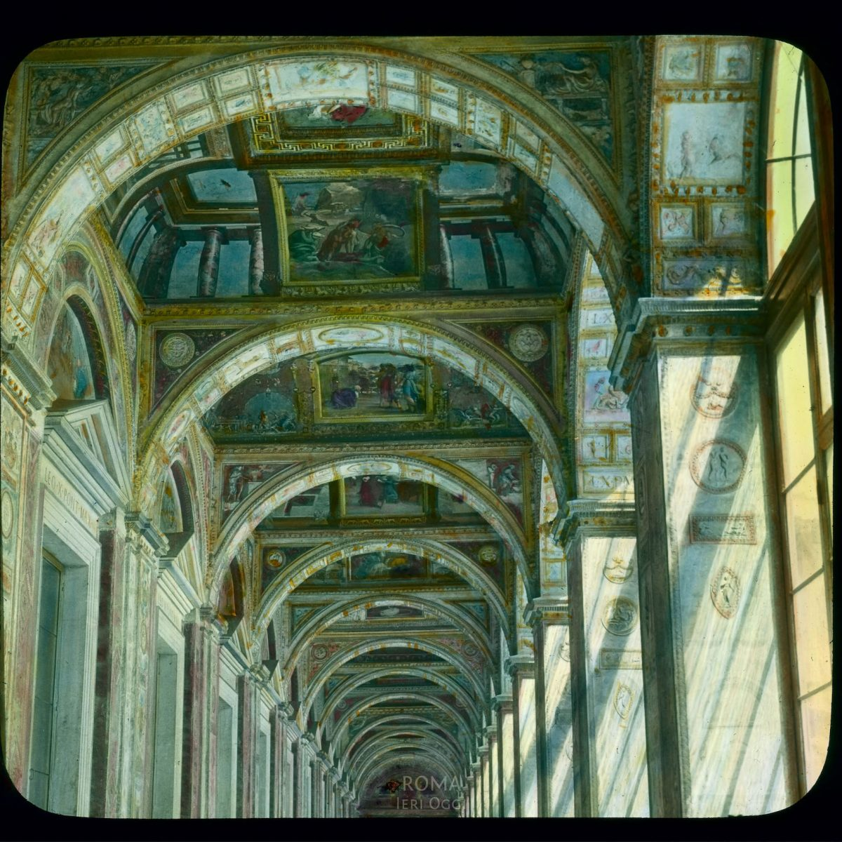 Vatican City. Raphael Loggia (Loggia of Leo X): detail of ceiling View in tinted lantern slide, ca. 1919-1938. The painting dates from ca. 1518-1519.