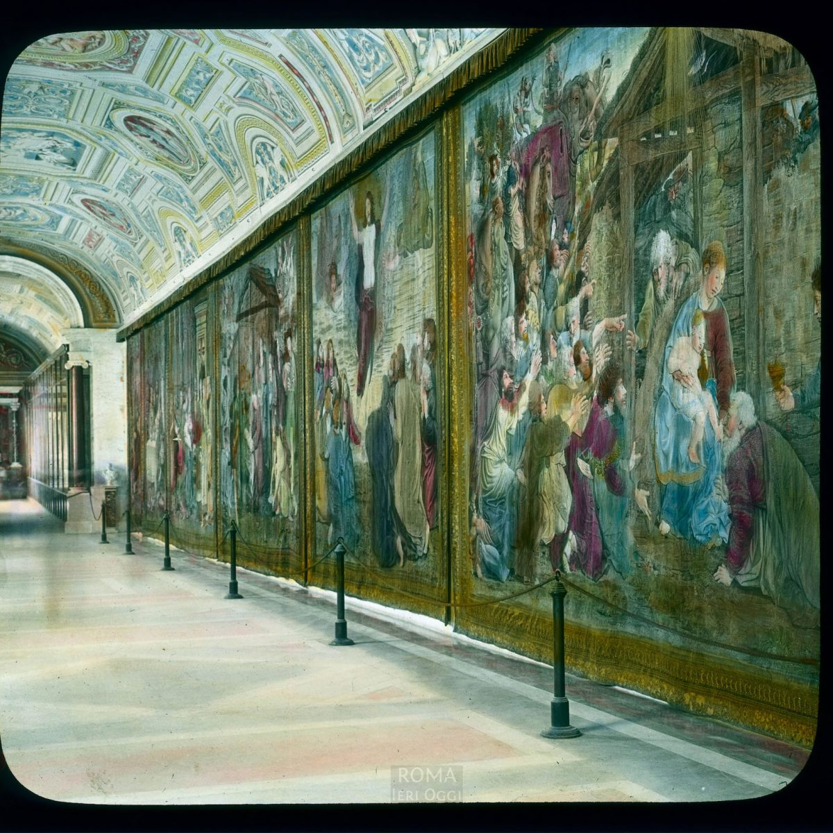 Vatican City. Vatican Museum, Museo Pio-Clementino: interior, Gallery of the Tapestries View in tinted lantern slide, ca. 1919-1938. The museum dates from ca. 1771.