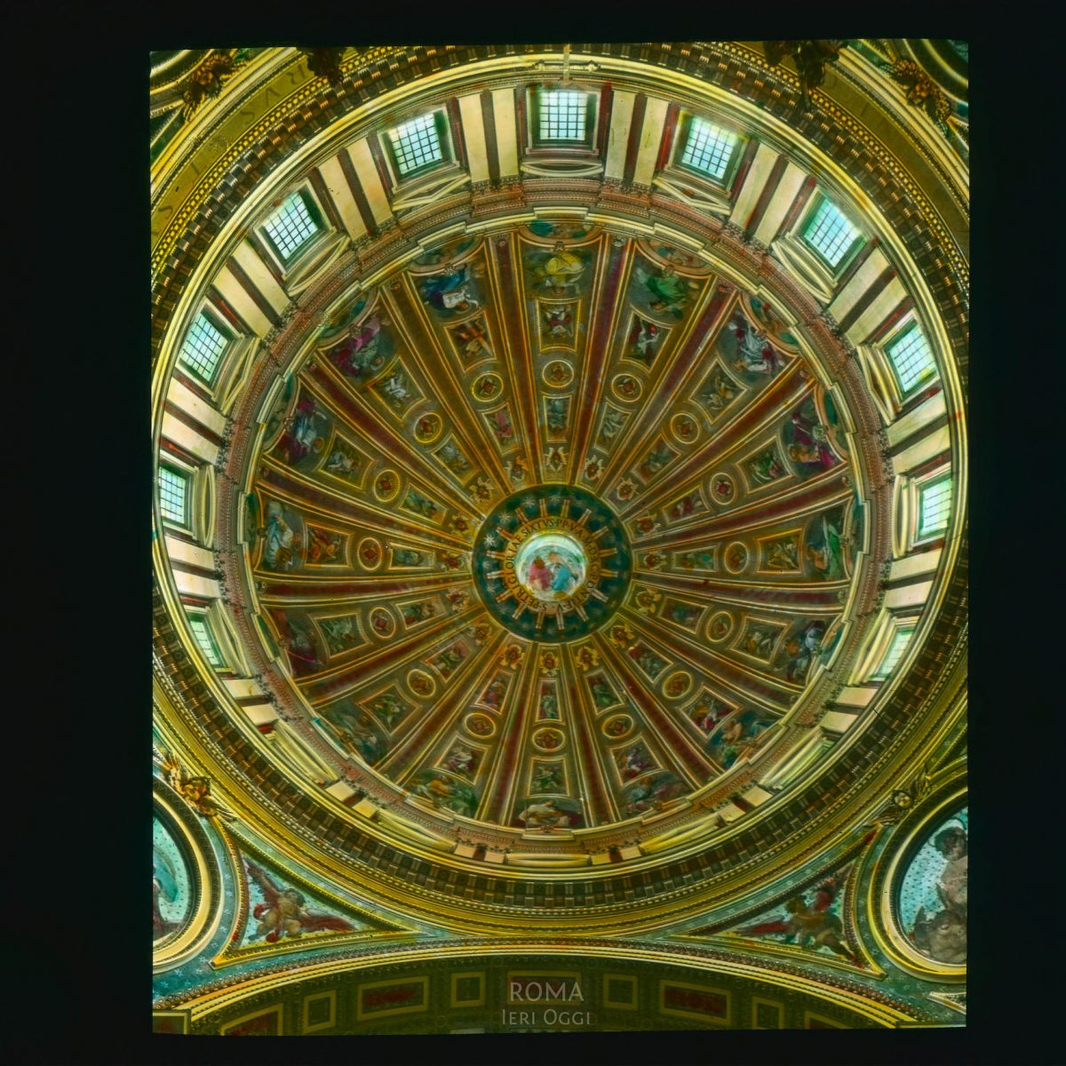 Vatican City. St. Peter's Basilica: interior view upwards towards dome ceiling View in tinted lantern slide, ca. 1919-1938. The basilica dates from ca. 1506-1626.