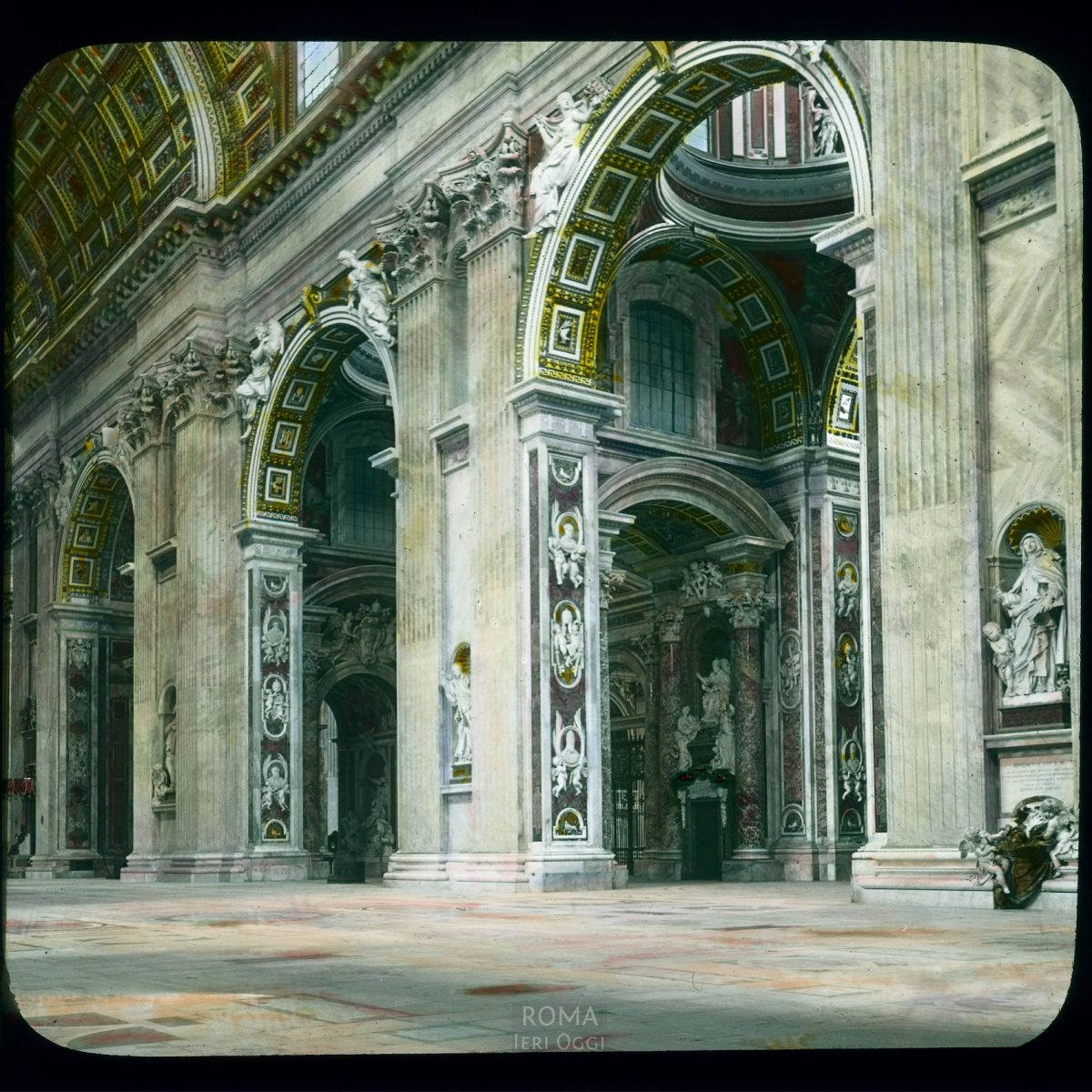 Vatican City. St. Peter's Basilica: interior, right aisle View in tinted lantern slide, ca. 1919-1938. The basilica dates from ca. 1506-1626.