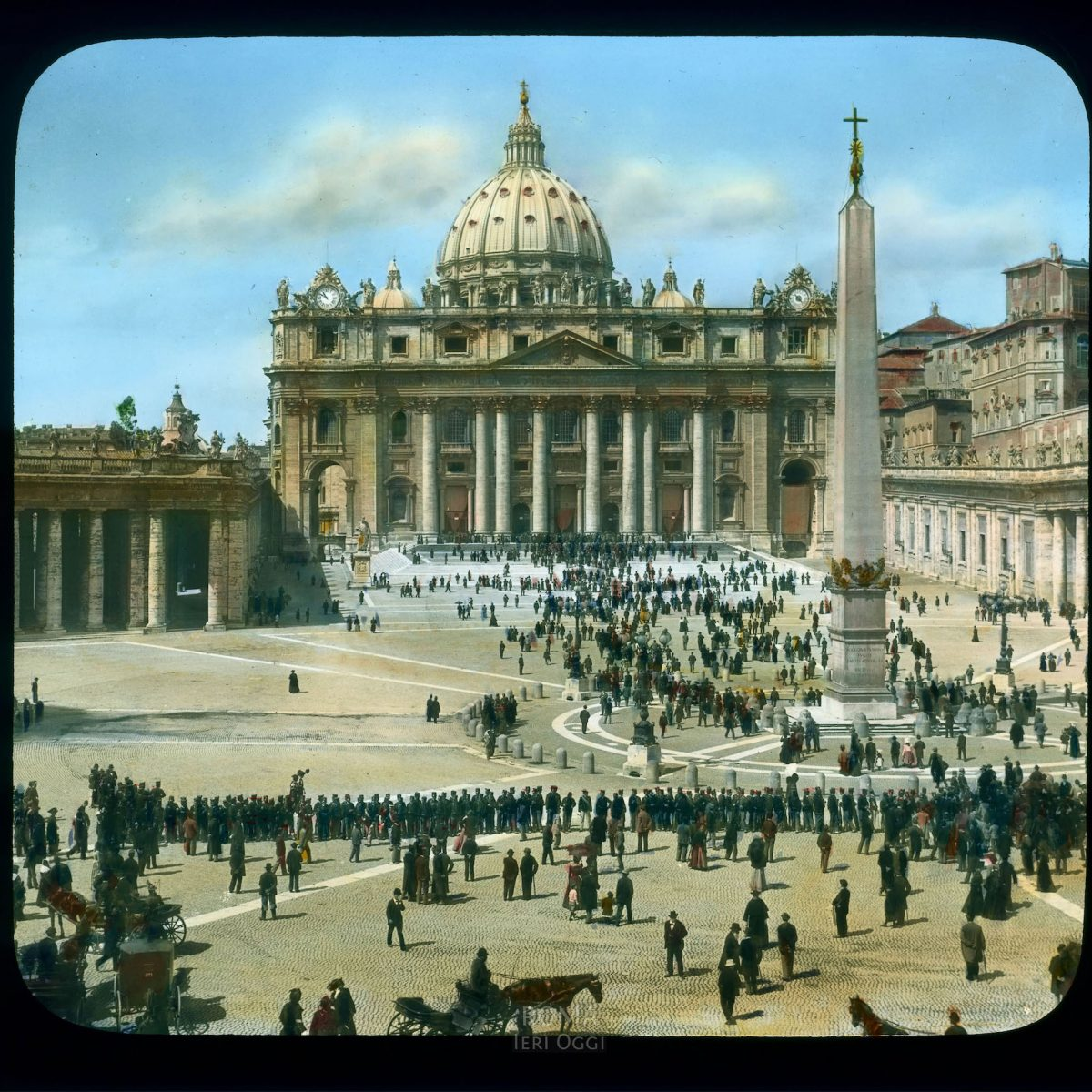 Vatican City. St. Peter's Square: view of square with crowds of people View in tinted lantern slide, ca. 1919-1938. The square was built 1656-1667.