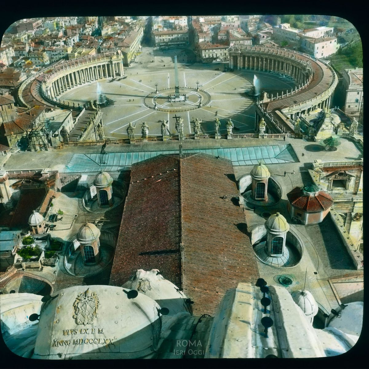 Vatican City. St. Peter's Piazza: view of square from the dome of S.Peter's Basilica View in tinted lantern slide, ca. 1919-1938. The square was built 1656-1667.